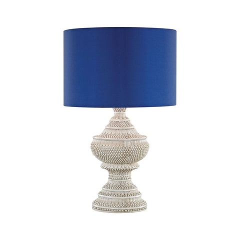Kokopo Outdoor Table Lamp With Ultramarine Shade Antique White