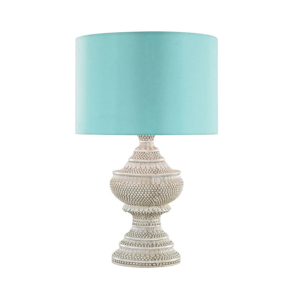 Kokopo Outdoor Table Lamp With Sea Green Shade Antique White