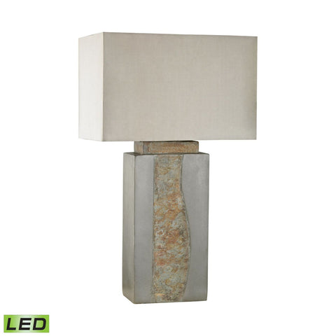 Musee Outdoor Led Table Lamp Grey,natural Slate Outdoor