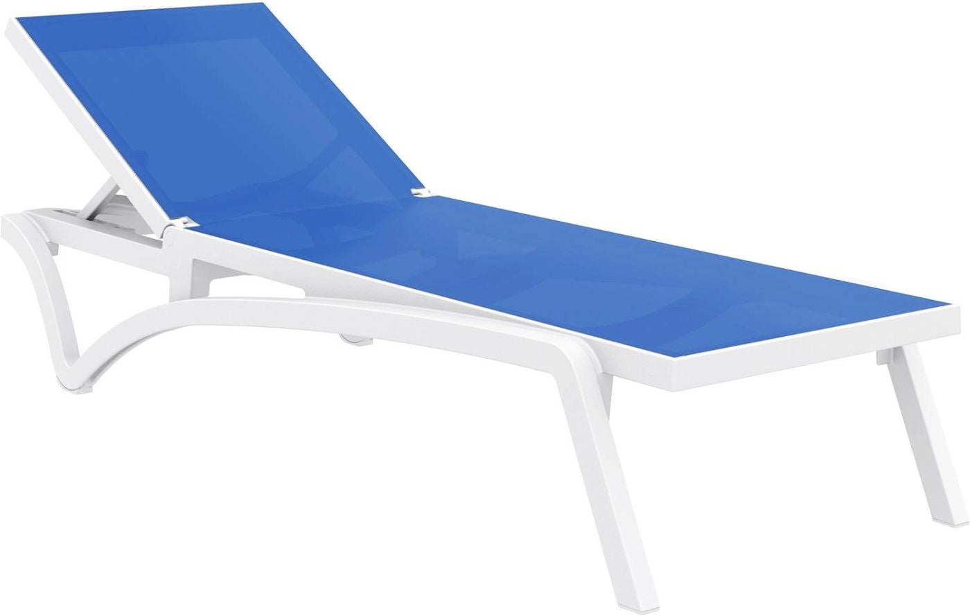 Brilliant Pacific Sling Chaise Lounge White Frame Blue Sling Set Of 2 Dailytribune Chair Design For Home Dailytribuneorg