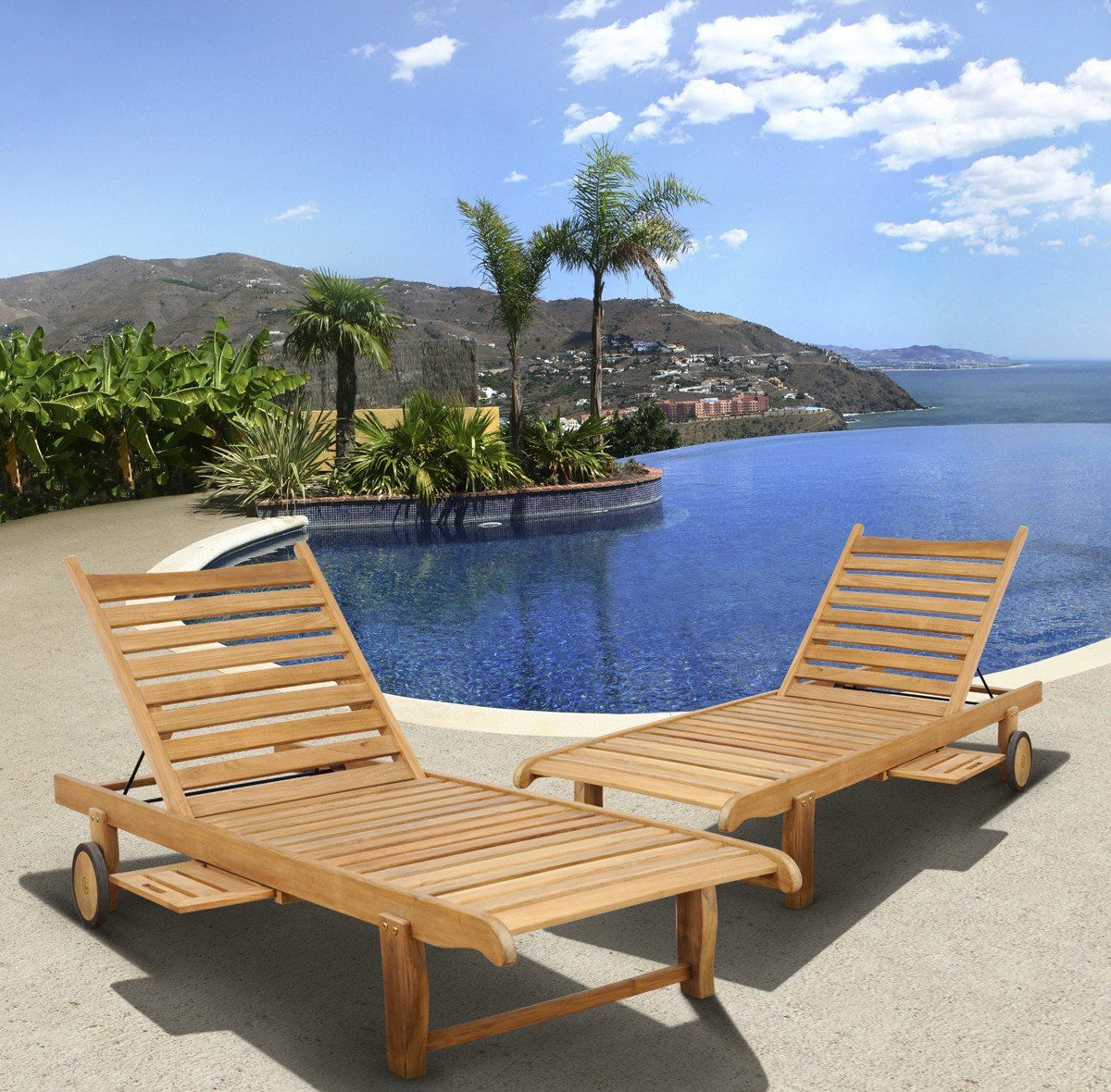 International home miami amazonia teak cairo 2 pc teak for Garden pool loungers