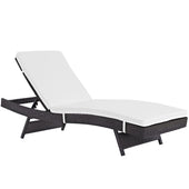 Convene Outdoor Patio Chaise Espresso White Lounge Chair