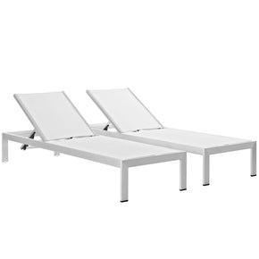 Beau Outdoor Lounge Chairs   Modway EEI 2472 SLV WHI SET Shore Chaise