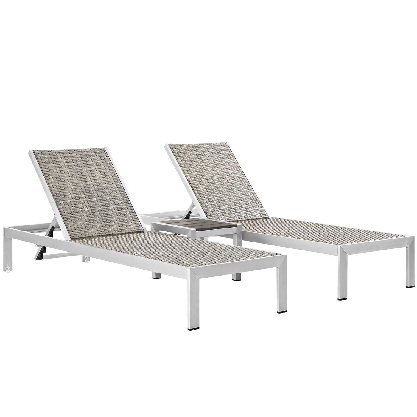 Shore 3 piece outdoor patio aluminum set silver gray lounge chair