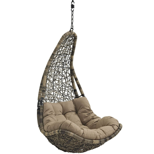 Outdoor Lounge Chairs - Modway EEI-2657-GRY-WHI-SET Abate Outdoor - Modway Abate Outdoor Hanging Patio Swing Chair Without Stand At