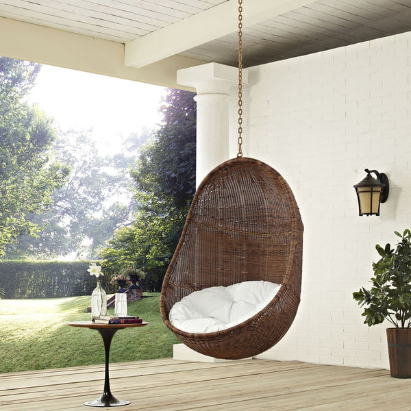 Outdoor Lounge Chairs - Modway EEI-2658-YLW-WHI-SET Bean Outdoor Hanging Patio Swing Chair | 889654096863 | Only $418.50. Buy today at http://www.contemporaryfurniturewarehouse.com