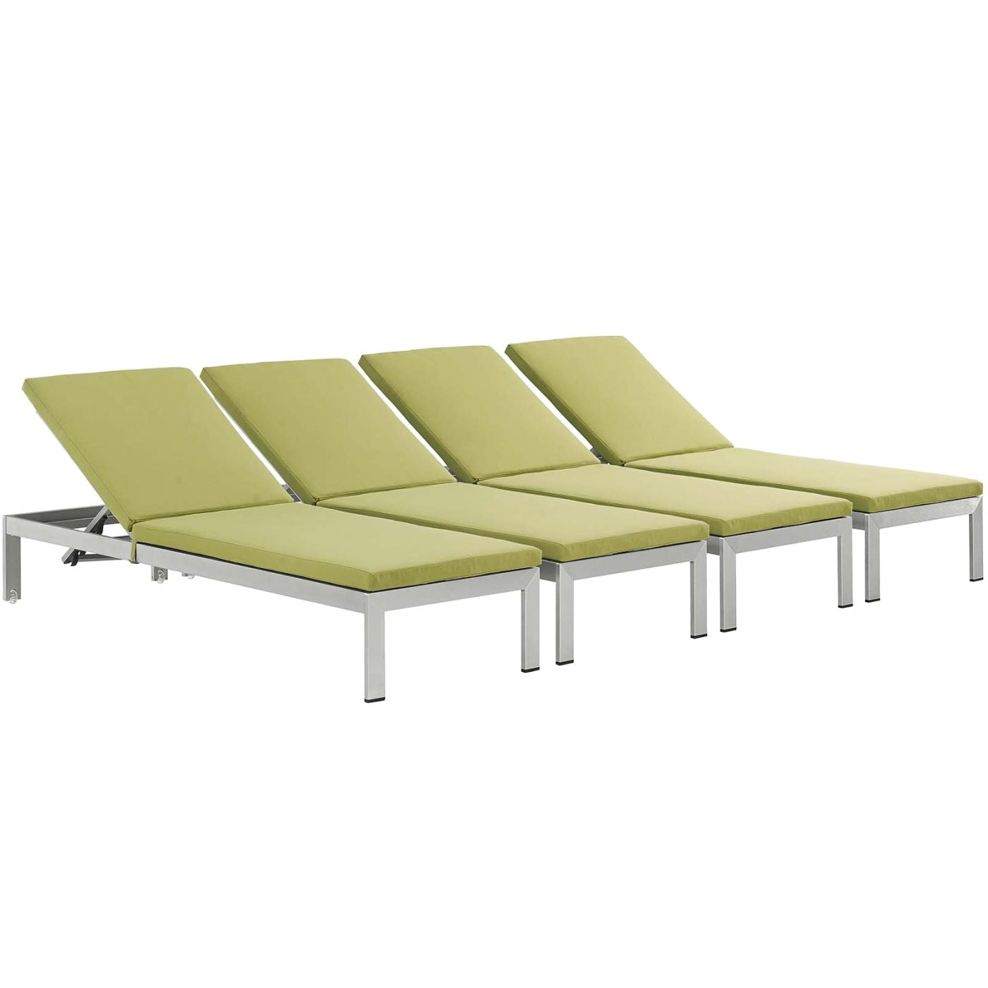 Modway shore chaise with cushions outdoor patio aluminum for Chaise aluminium