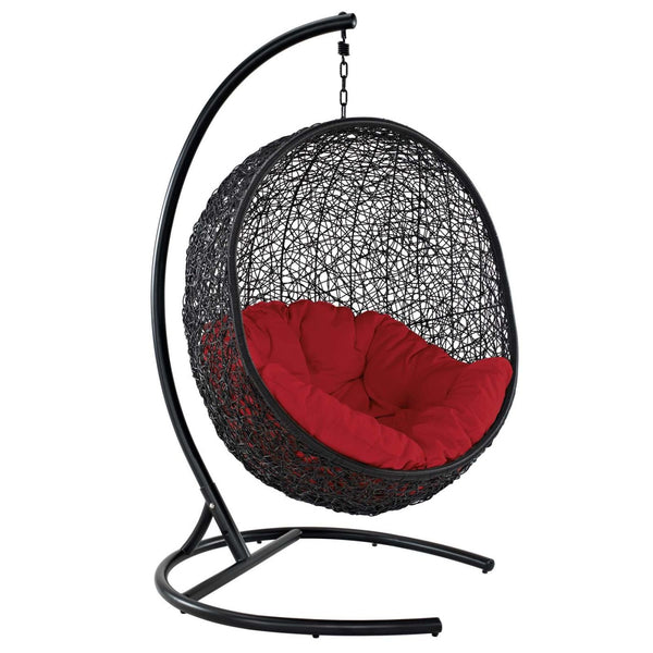 Encase Swing Outdoor Patio Lounge Chair Red