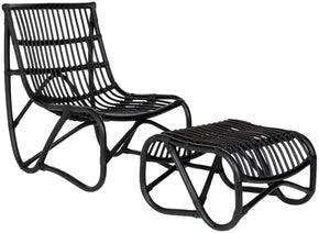 Shenandoah Chair & Ottoman Black Outdoor Lounge