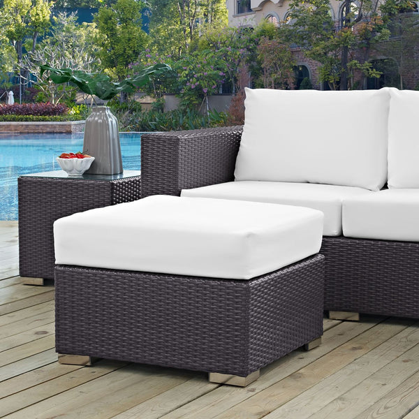 ... Modway Convene Rattan Outdoor Patio Fabric Square Ottoman  EEI 1911 EXP WHI ...