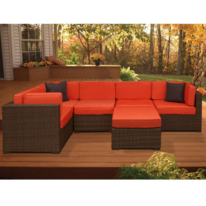 Bellagio Sectional 6-Pc Set Orange Outdoor Patio