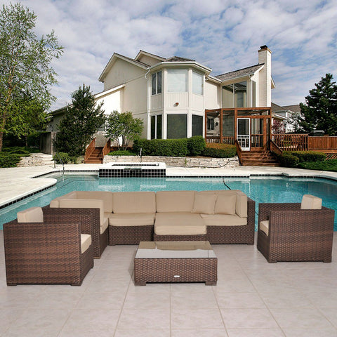 Southampton Sectional 9-Pc Set Deluxe Outdoor Patio