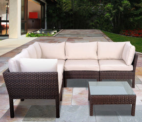 Infinity 6 Pc Wicker Seating Set Dark Brown Outdoor Patio