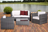 Metz 5 Pc Grey Wicker Seating Set With Off-White Cushions Outdoor Patio