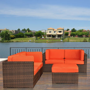 Nice Converation 4-Pc Set Orange Outdoor Patio