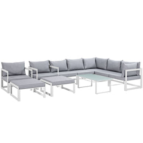 Fortuna 10 Piece Outdoor Patio Sectional Sofa Set White Gray