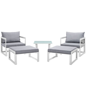 Fortuna 5 Piece Outdoor Patio Sectional Sofa Set White Gray