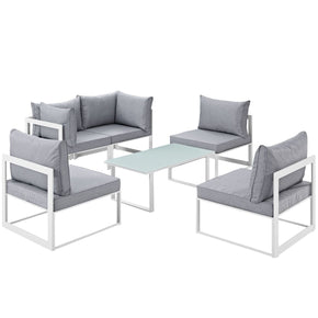 Fortuna 6 Piece Outdoor Patio Sectional Sofa Set White Gray