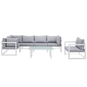 Outdoor Patio Sets - Modway EEI-1733-WHI-GRY-SET Fortuna 7 Piece Outdoor Patio Sectional Sofa Set | 889654003847 | Only $1464.75. Buy today at http://www.contemporaryfurniturewarehouse.com