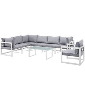 Fortuna 8 Piece Outdoor Patio Sectional Sofa Set White Gray
