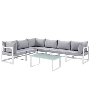 Fortuna 7 Piece Outdoor Patio Sectional Sofa Set White Gray