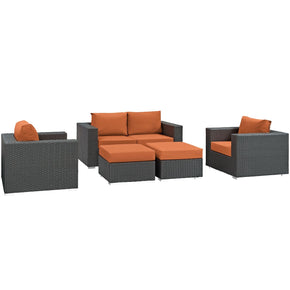 Sojourn 5 Piece Outdoor Patio Rattan Sunbrella Sectional Set Canvas Tuscan