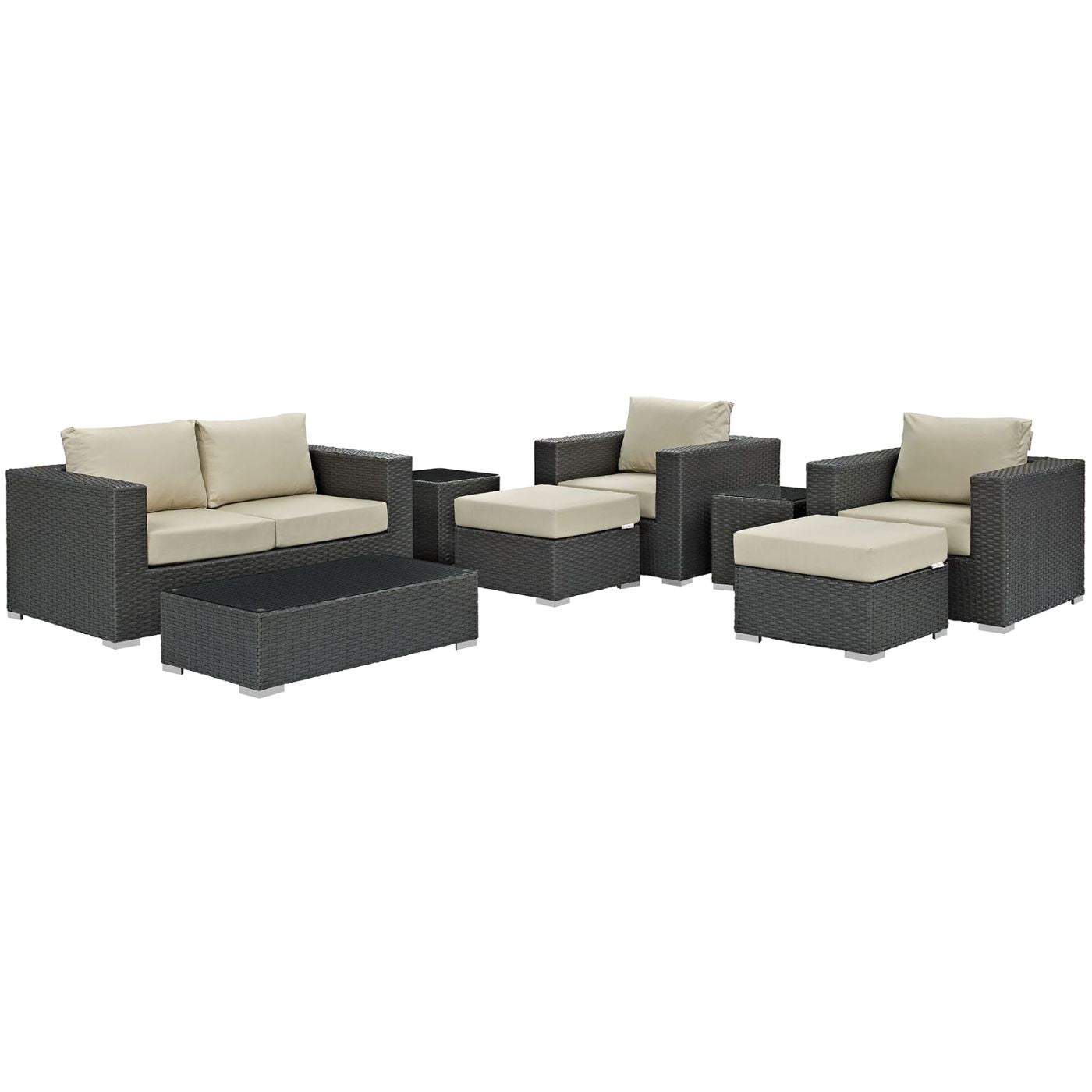 Sojourn 8 Piece Outdoor Patio Rattan Sunbrella Sectional Set Canvas Antique  Beige ...