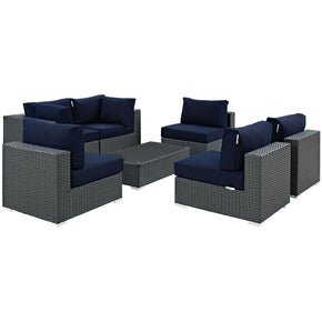 Sojourn 7 Piece Outdoor Patio Rattan Sunbrella Sectional Set Canvas Navy