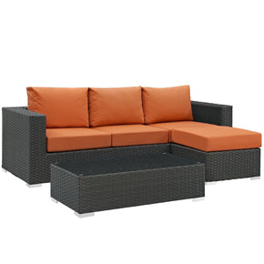 Sojourn 3 Piece Outdoor Patio Rattan Sunbrella Sectional Set Canvas Tuscan
