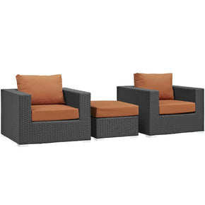 Outdoor Patio Sets - Modway EEI-1891-CHC-TUS-SET Sojourn 3 Piece Outdoor Patio Rattan Sunbrella Sectional Set | 889654026211 | Only $1077.75. Buy today at http://www.contemporaryfurniturewarehouse.com