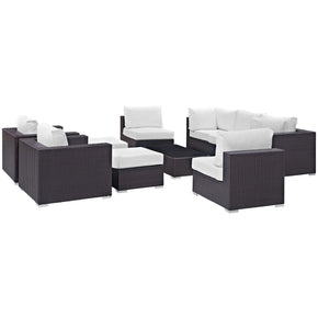 Outdoor Patio Sets - Modway EEI-2169-EXP-WHI-SET Convene 10 Piece Rattan Outdoor Patio Sectional Set | 889654045342 | Only $2937.00. Buy today at http://www.contemporaryfurniturewarehouse.com