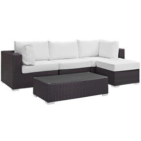 Convene 5 Piece Outdoor Patio Sectional Set Espresso White