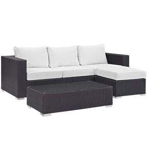 Outdoor Patio Sets - Modway EEI-2178-EXP-WHI-SET Convene 3 Piece Rattan Outdoor Patio Sofa Set | 889654045922 | Only $937.50. Buy today at http://www.contemporaryfurniturewarehouse.com