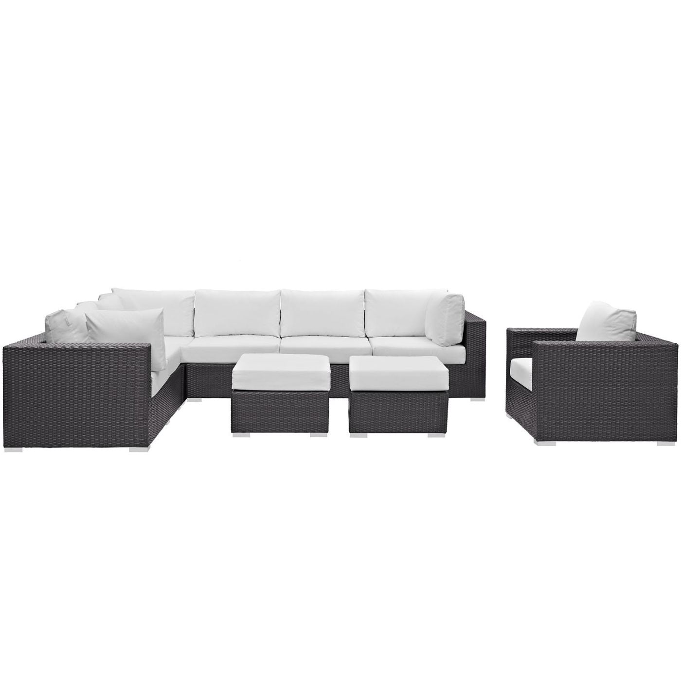 Convene 9 Piece Outdoor Patio Sectional Set Espresso White ...