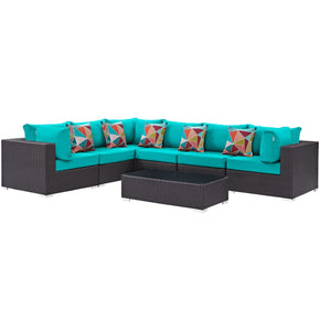 Convene 7 Piece Outdoor Patio Sectional Set Expresso Turquoise