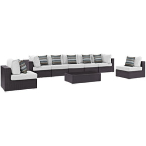 Convene 8 Piece Outdoor Patio Sectional Set Espresso White