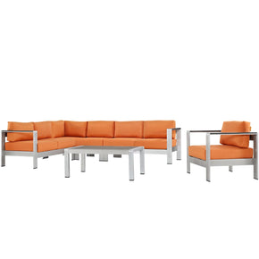 Shore 6 Piece Outdoor Patio Aluminum Sectional Sofa Set Silver Orange