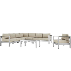Outdoor Patio Sets - Modway EEI-2562-SLV-BEI Shore 7 Piece Outdoor Patio Aluminum Sectional Sofa Set | 889654091202 | Only $2598.25. Buy today at http://www.contemporaryfurniturewarehouse.com