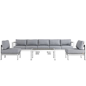 Shore 6 Piece Outdoor Patio Aluminum Sectional Sofa Set Silver Gray