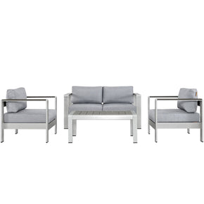 Shore 4 Piece Outdoor Patio Aluminum Sectional Sofa Set Silver Gray