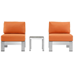 Shore 3 Piece Outdoor Patio Aluminum Sectional Sofa Set Silver Orange