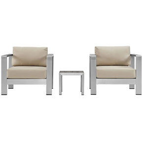 Outdoor Patio Sets - Modway EEI-2599-SLV-BEI Shore 3 Piece Outdoor Patio Aluminum Sectional Sofa Set | 889654092735 | Only $840.55. Buy today at http://www.contemporaryfurniturewarehouse.com