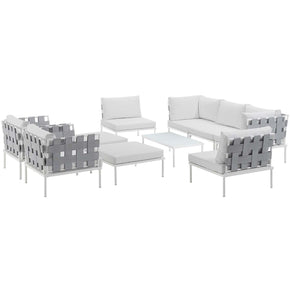 Harmony 10 Piece Outdoor Patio Aluminum Sectional Sofa Set White