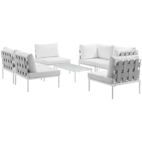 Outdoor Patio Sets - Modway EEI-2617-WHI-WHI-SET Harmony 7 Piece Outdoor Patio Aluminum Sectional Sofa Set | 889654098812 | Only $1824.50. Buy today at http://www.contemporaryfurniturewarehouse.com
