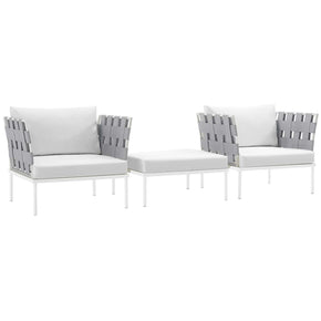 Harmony 3 Piece Outdoor Patio Aluminum Set White
