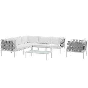 Harmony 7 Piece Outdoor Patio Aluminum Sectional Sofa Set White