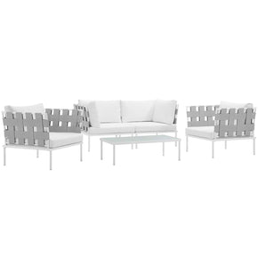 Harmony 5 Piece Outdoor Patio Aluminum Sectional Sofa Set White