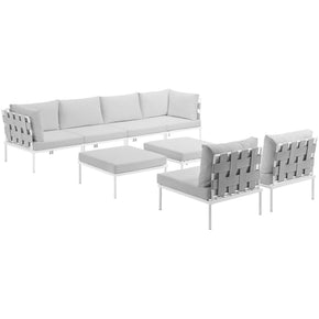 Harmony 8 Piece Outdoor Patio Aluminum Sectional Sofa Set White