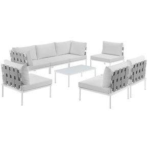 Outdoor Patio Sets - Modway EEI-2625-WHI-WHI-SET Harmony 8 Piece Outdoor Patio Aluminum Sectional Sofa Set | 889654099130 | Only $1926.25. Buy today at http://www.contemporaryfurniturewarehouse.com