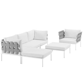Harmony 6 Piece Outdoor Patio Aluminum Sectional Sofa Set White